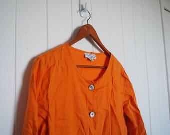 burnt orange linen shirt