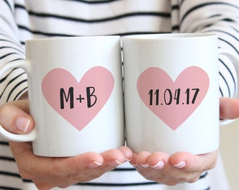 Engagement Mug, Wedding Mug, Couples Mug, Personalized Bridal Shower Gift, Anniversary Gift For Husband, Wedding Mugs, Future Mrs Mug