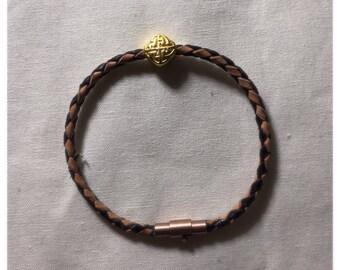 Gold charm leather bracelet