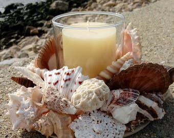 Shell Wreath With Candle - Beach Decor (CW042)