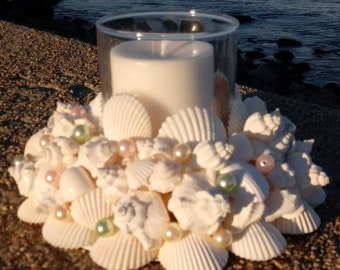 Beach Decor - White Shell Wreath With Candle (CW039)
