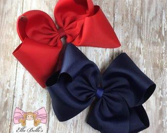 Jumbo Boutique Bows, School Uniform Bows~ made to match school uniform bows, navy and red bows, navy and red bows for a school uniform