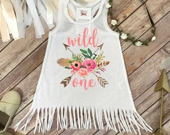 Wild One, First Birthday, Girl Birthday Dress, Boho Birthday, 1st Birthday, Fringe Birthday Dress, Floral Birthday,1st Birthday Outfit,Peach