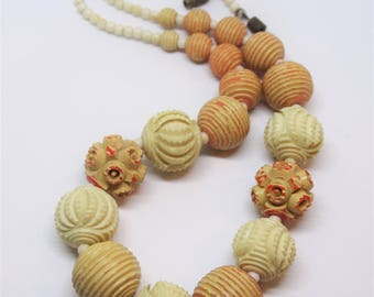 1930s Carved Celluloid Over Dyed Bead Necklace Deco Period Choker Necklace