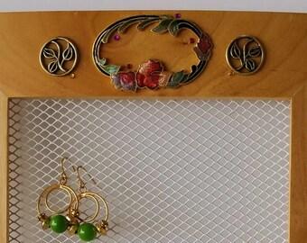 Blond earring hanger, Mini necklace holder, Jewelry organizer wall, Earring display, Jewelry hanger, Earring organizer, Wall earring holder