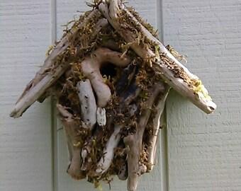 Garden Birdhouse Driftwood Yard Decor Wood Bird House