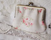 Clip Purse *The Painted Room Rose Garland* Linen / Card Case Coin Case Cosmetic Accessory Bag / French Antique Vintage Style Floral