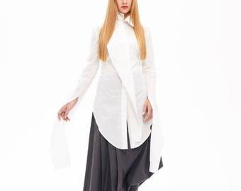 Shirts On Sale White Maxi Tunic, Women's Clothing, White Cotton Shirt, Soft Tunic, Asymmetric Top, Casual Tunic, Modern Tunic, Plus Size Top