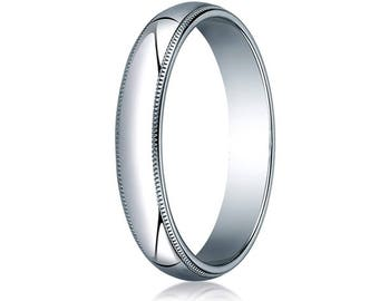 3MM Wide 10K White Gold Band Men's or Women's Wedding or Promise Ring with Migrain Edge and Free Inside Engraving