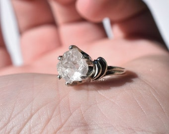 Raw Stone Engagement Ring Diamond Ring Sterling Silver Handmade Engagement Ring
