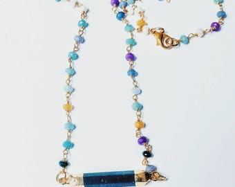 Agate Gemstones Rosary Necklace with Crystal Gemstone Bar||Summer Boho Fashion Jewellery