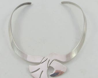 Silver Sterling Mexican Modernist Abstract Choker Necklace - 46g