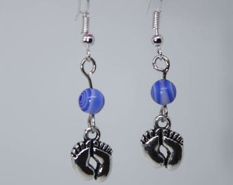 Tibetan Silver footprints blue beaded earrings