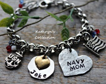US Navy Mom, Navy Bracelet, Navy Wife, US Armed Forces, Military Mom, Love My Sailor, Read Full Listing Details