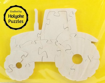 Tractor Wood Puzzle - Color Your Own Craft Puzzle - Kids Craft Project