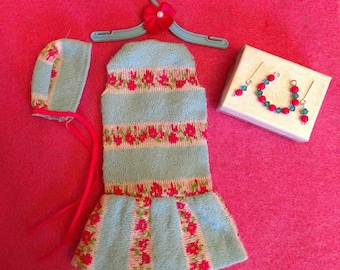 """Vintage Barbie """"TOGETHERNESS"""" DRESS & HAT #1483 Excellent With Matching Jewelry  Excellent!"""
