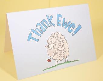 Thank Ewe card - an original sheep Thank You card