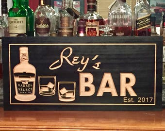 Personalized Bar signs, Wooden Carved Signs , Man Cave Sign, Home Bar, shot glasses, Scotch, Whiskey, Custom Wood Sign, Free Shipping