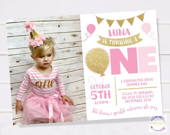 Custom Edited Girls First Birthday Invitation - JPG / PDF - Gold Sparkles design - 7 x 5 inch (optional photo)