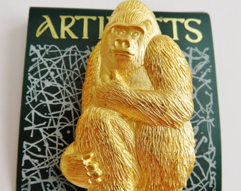 JJ Jonette Gold Tone Gorilla Ape Brooch Pin