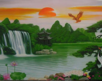 "Waterfall painting oil painting on canvas 24""X48"""
