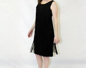 20% off vintage fringe black flapper dress 60s Fringed Dress Fringed LBD fits XS-S Shimmy Dress ,Fringed Flapper Dress, size 2 Lbd, 20's cos