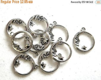 HALF PRICE 10 Silver Hoop Crescent Moon Charms - Man in the Moon Charm