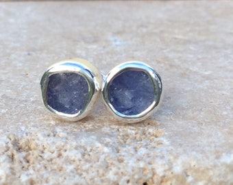 Tanzanite Studs, Raw Stone Studs, Raw Tanzanite Silver Studs, Tanzanite Earrings, Raw Stone Silver Earrings, Blue Stone Earrings