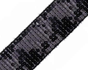 Sequins trim adorned with sequins on tulle black 40 mm