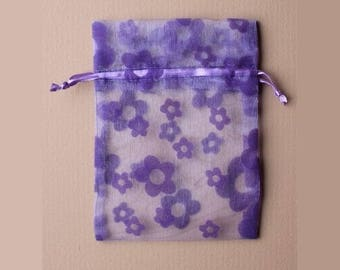 5 bags organza 15 x 11 cm flowers purple packaging