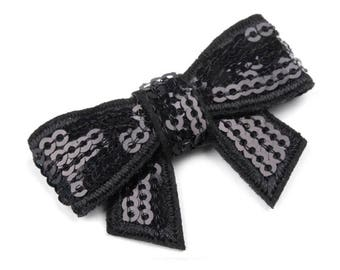 4 30 x 45 mm shiny black sequins bow