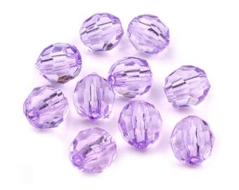 20 11 x 12 mm faceted clear purple Crystal beads