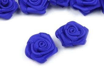 10 small pink flowers bright blue satin 15 mm