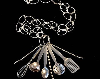Chrome plated cooking utensil pendant necklace