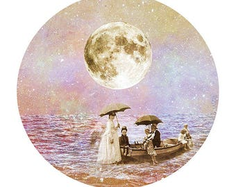 11 by 14 archival print - Moonlight Boat Ride