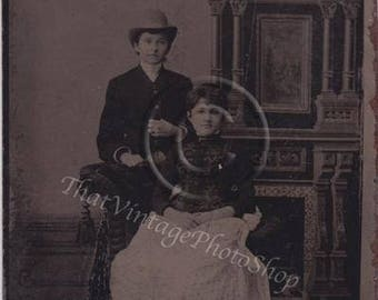 Antique Tintype Photo Affectionate Womeb