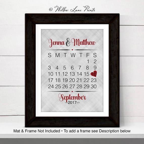 Personalized Wall Art For Wedding Gift Calendar One Year