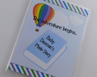 Baby Boy Photo Album Personalized Newborn Rainbow Hot Air balloon Story Book 5x7 or 4x6 Picture Baby Shower Gift 786
