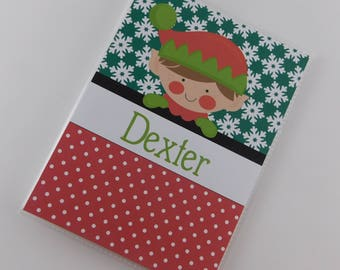 Christmas Photo Album Elf Personalized Holiday Gift Baby Boy Girl Child Red Green 4x6 or 5x7 Pictures 816