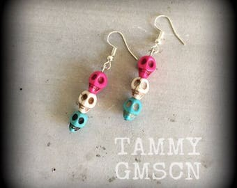 Day of the Dead 'Sugar Skull' Howlite Stone Candy coloured skull stack Halloween earrings for pierced ears or stretched lobes 0g 2g 4g 6g