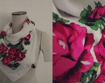 Cashmina Floral Scarf. Cashmina Scarf. Floral Scarf. Vintage Scarf. Vintage Floral.