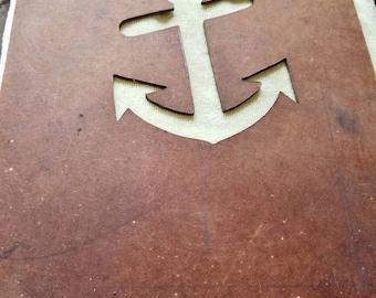 Vintage Anchor pattern on masonite