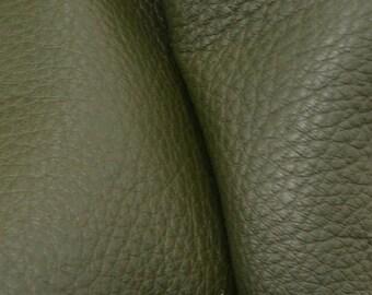 "Deep Avocado Green Leather New Zealand Deer Hide 8"" x 10"" Project Piece 3-3 1/2 ounces DE-66080 (Sec. 3,Shelf 4,A)"