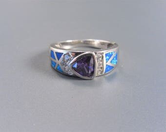 Vintage Sterling Trillion Amethyst Inlaid Blue Opal Ring Size 8