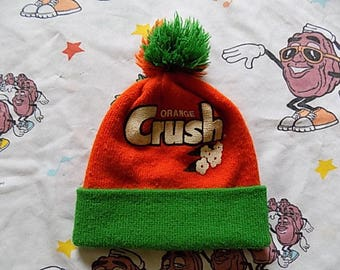 Vintage 70's Orange Crush printed logo roll up Pom Beanie, Adult Size soda pop Promo