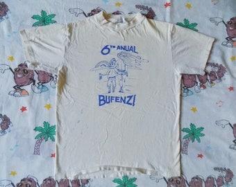Vintage 80's 6th Anual Bufenzi T shirt, size Small funny random cartoon Thrashed vulgar
