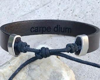 FREE SHIPPING-Men's Bracelet, Leather Bracelet,Bracelet for Men,Men's Leather Bracelet,Engraved Leather Bracelet,Adjustable Bracelet