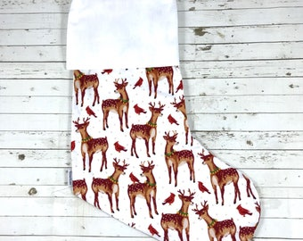 Plain Christmas Stocking | HTV Blank | DIY stocking | Embroidery Blank | vintage reindeer | Ready To Personalise | designer fabric