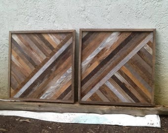2 geodesic wood art wall hangings