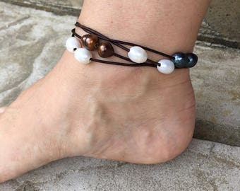Pearl Anklet Leather Pearl Anklet Leather Wrap Anklet Bohemian Pearl Colorful Ankle Bracelet Cute Anklet Boho Chic Made in USA
